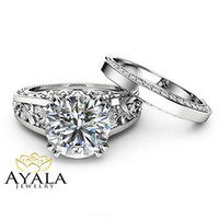 Cheap moissanite diamond engagement rings - White Gold Moissanite  Engagement Ring Set Unique 2 Ring with