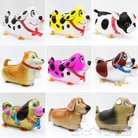 Wholesale 18 Inch Walking Pet Animal Dachshund Helium Aluminum Foil Balloon Cute Kids Baloon Toys Gifts For Christmas Wedding Birthday Party Supplies