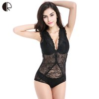 Wholesale Lace Front Teddy - New Transparent Lace Sexy Hollow Vest Deep V Teddy Europe Thin Bra Sets Women Sexy Lingerie Underwear Lace Body Suit WI432