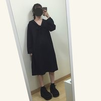 academic gown - 2016 autumn winter woman Japanese student sailor uniforms long dress with tie academic school uniforms pleated black loose dress