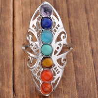 Celtic adjustable ring jewelry - Wedding Ring Natural Stone Chakra Beads Stone Adjustable Rings For Women Charms Amethyst Onyx etc Accessories European Fashion Jewelry