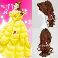 belle wigs - gt gt gt Beauty And The Beast Cartoon Princess Belle wig Synthetic Long Curly Wig Brown Cosplay Anime Wig Ponytail