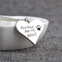 Pendant Necklaces Celtic Women's You had me at woof dog foot print heart pendant necklace for women men best friend jewelry Christmas gift