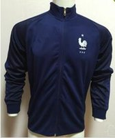 Wholesale France soccer jackets France away blue football jackets POGBAES BENZEMA top quality jackets SIZE S M L XL