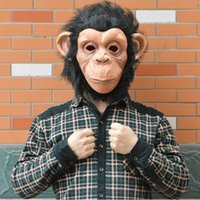 balls monkey - Funny Animal Cosplay Men Women Latex Monkey Masks Party Ball Rubber Full Face Mardi Gras Mask Costume Halloween Ball Latex Mask