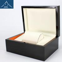 achat en gros de coffret cadeau usine-High-end Black Spray peinture emballage cadeau protéger la montre flannelette Montre Wood Box Bronzing Logo personnalisé LSL0360 Vente directe d'usine