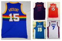 Wholesale 2016 Carmelo Anthony Mens Jerseys Top quality Size S XXL Men Sport Jersey White Blue