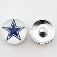 Wholesale Popular Ginger Snap Jewelry Dallas Cowboy Snap Button mm Glass American Football Team Snap Charms Fit For Women Bracelet Necklace