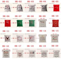 Wholesale hot sale Christmas Large Canvas Monogrammable Santa Claus Drawstring Bag With Reindeers Monogramable Christmas Gifts Sack Bags