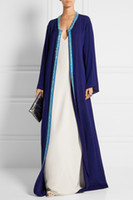 Wholesale Navy and off white silk crepe embellishment caftan evening dresses Oscar de la Renta Dubai Kaftan Abayas