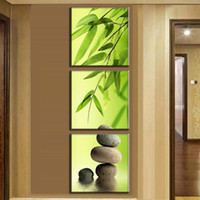 Wholesale 3 Pieces set Artist Canvas Still Life painting Bamboo and Stone vertical forms Canvas Prints Pictures for Living Room Frameless
