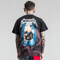 Wholesale 2017 Spring summer Europe T shirt tee streets Metallica Rock band lightning toilet painting High street fashion clothing black15422602