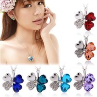 Wholesale Multi colors crystal four leaf clover necklace jewelry for girls and men lucky silver clover flower necklace pendants rhinestones