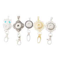 Wholesale gold plated owl Noosa chunk keychains alloy snap button keychain women DIY key rings