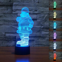 Cheap New Christmas Night Lights Lighted Window Decoration Lights Creative  3D Illusion Santa Claus Lamp LED
