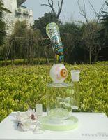 Acheter Dabs vert-Hitman bong Mobius Matrix fab egg Crâne Recycler bongs en verre couleur noir vert blanc grands grands yeux huile plate-forme hitman dab brun tuyau d'eau