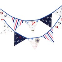 Vente en gros - 12 drapeaux 3.3m Pirate Theme Tissu en coton Bunting Pennant Flag Banner Garland Wedding / Birthday / Baby Shower Party Decoration