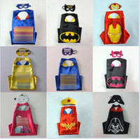 Wholesale DHL styles double layer Superhero capes mask set baby kids cosplay superhero party cape L70 W70cm A002
