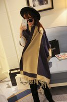 Wholesale New fashion women s scarf winter thick section of thick cashmere plaid scarf super thick double sided warm shawl