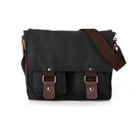 Wholesale Men Vintage Canvas Leather Satchel School Schoulder Messenger Bag Outdoor Bags Briefcase Retro Side Mode Casual