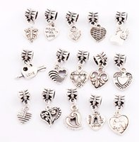 Cheap 15Styles Tibetan silver Made With Love Heart Lobster Claw Clasp Charm Beads Jewelry DIY Loose Beads