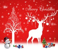 Wholesale 2016 Christmas wall stickers christmas tree deer decorative painting Christmas snowflake window decorative wall stickers white and red color