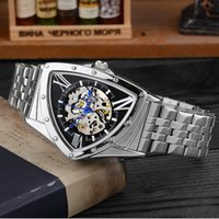 Wholesale Men s personality unique three shaped watch automatic hollow tourbillon mechanical watch fashion waterproof male watch