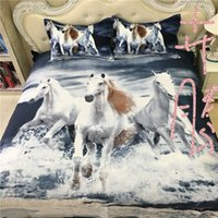 Wholesale 2016 New Arrival Running Horses Print Queen Size Cotton D Bedding Set for Kids and Adults
