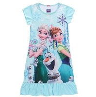 Wholesale Frozen Childrens Dresses For Girls Clothing Cartoon Cotton Kids Dress For Girl Summer Short Sleeve Princess Dress Pajamas Boutique Clothes