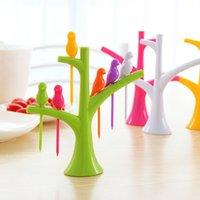 Wholesale HOT Design Creative Tree Birds Plastic Fruit Forks Stand Forks Vegetable Fork Tableware Dinnerware Sets Colors