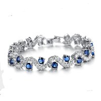 Wholesale Charming Royal Blue Crystal Stone Women Tennis Bracelets With Cubic Zircon Simulated Diamond Silver Plated Jewelry Party Gifts
