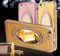 Lujo Princess Bling Rhinestone Diamond Espejo Plating TPU Maquillaje caso para iPhone 5 SE 6 6S 6Plus iPhone7 Plus Cubierta Anillo Hebilla Stand