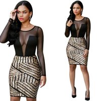Wholesale Women Clothes Alluring O Neck Long Sleeves Mesh Patchwork Hollow out Spandex Sheath Mini Dress bodycon dresses