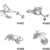 antique silver trophies - New Fashion Men Women Unisex Alloy Antique Silver Barbell Dumbbell Trophy Heart Pendant Link Chain Necklace