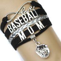 Charm Bracelets fashion gloves leather - Pieces High Quality Infinity Love Baseball Mom Bracelet Baseball Glove Charm Baseball Lover Black Women s Fashion