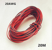 Wholesale 20m Electrical Wire Red Black Tinned Copper Pin AWG insulated PVC Extension LED Strip Electronic Cable Wire DIY Connector