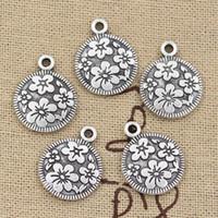 Wholesale Cents Charms circle flower mm Antique Making pendant fit Vintage Tibetan Silver DIY bracelet necklace