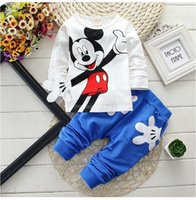 Wholesale Retail New Baby Girls Boys Mickey Clothing Sets Kids Character Cotton Long Sleeve Shirt Pants Suit Children Clothing