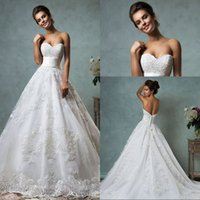 Wholesale High Quality Ball Gown Sweetheart Chapel Train Ivory Organza Appliques Lace Wedding Dresses With Low Back Bridal Gowns