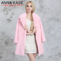 Wholesale 2016 Winter Plus Size Faux Fur Coats Women Long Pink Fur Coat Ladies Mink Coat Rabbit Fur Coat Elegant Women Winter Jacket