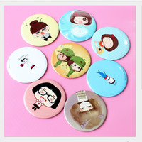 Round beauty compact mirror - OT Small Cute Cartoon Pocket Mirror Hand Makeup Compact Mirrors Portable Professional Mini Cosmetics Mini Beauty Make Up Tools