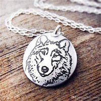 Trendy animal heads for sale - Hot sale animal pattern round pendant necklace jewelry Wolf head pattern handmade necklace Gift for animal lovers