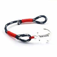 Charm Bracelets South American Unisex 10pcs Hot Sale mix Jewelry rope chain Leather Bracelet Men gold and silver Anchor Bracelet christmas gift tom hope friendship Femme bracelet