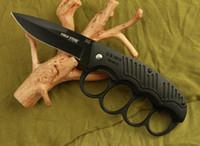 aluminum brass knuckles - Cold steel knuckle duster pocket knife folding blade brass kunckle dusters Cr17Mov blade hunting tactical camping knife knives