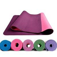 Wholesale Natural environmental protection tpe yoga mat mm lengthened thick non slip tasteless fitness mat beginner double yoga mat