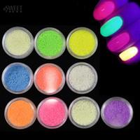 accessories for nail art - Nail Art Fluorescent Luminous Glitter Powder Sand Glow In Dark for D Salon Nails DIY Design Decor Nail Accessories NC325