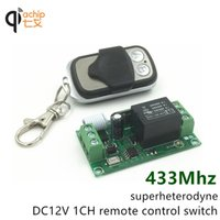 Wholesale Mhz Universal Wireless Remote Control Switch DC12V ch relay Receiver Module RF Remote Mhz Transmitter with Two button