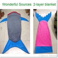 Wholesale Mermaid Tail Shark Blankets Mermaid Cocoon Costume Sleeping Bags Mermaid Bedding Wrap Air Condition Blankets B1298 for child colors