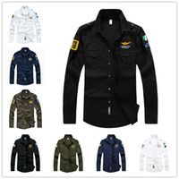 Casual Shirts air force aviators - Man s Aviator Slim Fit Long Sleeve Shirt Man Air Force One Multi Pockets SWAT Army Shirt Cotton Breathable Men Dress Shirts