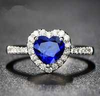 Wholesale fashion Creative The crystal zircon ring Plating silver ornaments Royal blue heart shaped sapphire ring